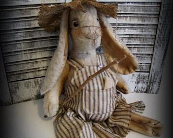 Primitive Bunny Rabbit~Fishing Pole~Easter Bunny Decor~Handmade Rabbit
