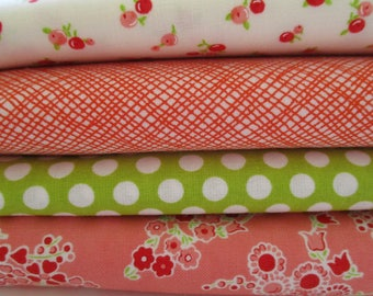FREE SHIPPING - Little Ruby - by the half yard - Cotton Fabric -  Red Dot Flowers -  Bonnie & Camille - 55131 - 55136