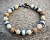 Mens surfer bracelet, coral, dyed bone and wood beads, tribal style, earthy natural materials on strong cord, toggle and loop clasp, OOAK