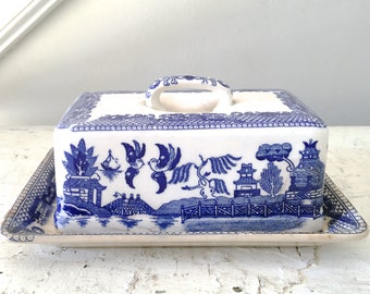 Vintage Blue Willow Butter Dish