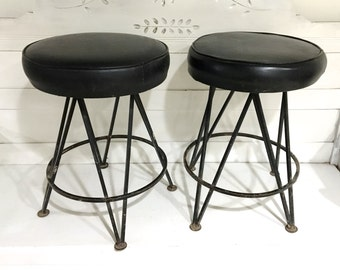 Midcentury Bar Stool Black Metal Round Vinyl Seat Retro