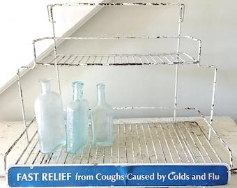 Vintage Metal Rack Store Display Industrial Cough and Cold Medicine