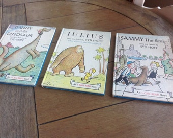 Set of Three Syd Hoff Books Danny the Dinosaur 1958 Julius 1959 and Sammy the Seal 1959