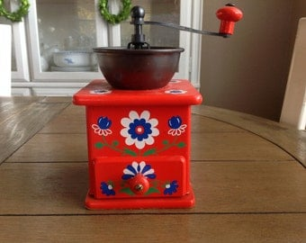 Adorable Red Coffee Grinder From West Germany with Pretty Blue and White Folk Flowerrs