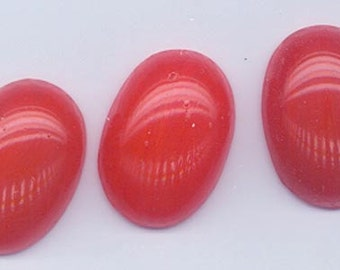 Two rare vintage Japanese Cherry Brand glass cabochons - opaque rich strawberry carnelian - 25 x 18 mm