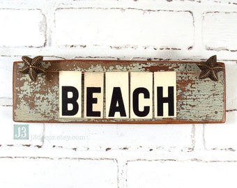 BEACH Wall Sign, Nautical Decor, Salvaged Wood Shelf Plaque, Repurposed Vintage Tin Letters, Star Fish Accents, Weathered Paint Finish