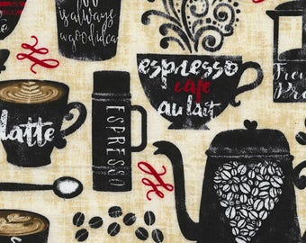 NEW - Timeless Treasures - Morning Coffee - Cream - Novelty Fabric - Choose Your Cut 1/2 or Full Yard