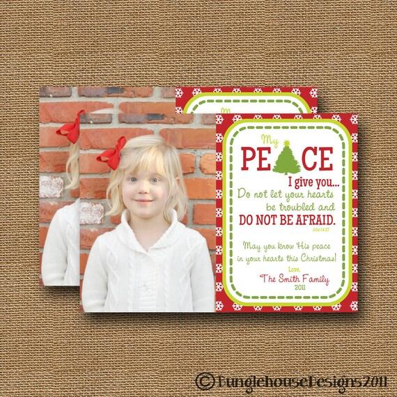"Christmas Photo Card DIY PRINTABLE ""Peace"" Christian Scripture Bible Verse Christmas Card"