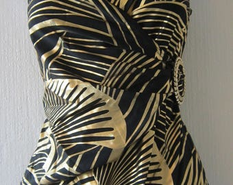 Glam Vintage Gold and Black Bathing Suit