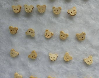 "30 PCs Natural wood buttons 12mm - Wooden Buttons ,tree buttons, natural wood buttons ""small bear head"" A010"
