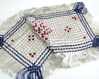 Vintage Silk Dresser Scarf or Table Runner, Silver w Red Stars, Blue Stripes, Fringed Ends, 23 x 13, Vintage Linens by TheSweetBasilShoppe