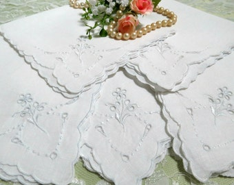 5 White Linen Napkins with Madeira Embroidery, Cocktail Napkins, Luncheon Napkins, Tea Napkins, Vintage Linens by TheSweetBasilShoppe