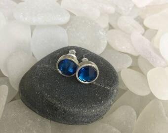 elegant blue faceted czech glass stud earrings, sterling silver plated czech glass blue post earrings, silver czech glass stud earrings