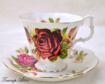 ON SALE Royal Albert Vintage Teacup and Saucer With Large Red Rose, Wedding Gift, Mother's Day, English Teacup, c. 1960-1970