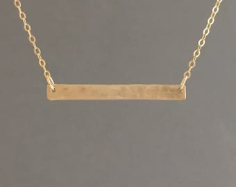 Large Hammered Gold Bar Necklace also in Rose Gold or Silver