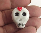 lampwork glass skull bead for jewellery making, charms, Halloween, day of the dead, SRA