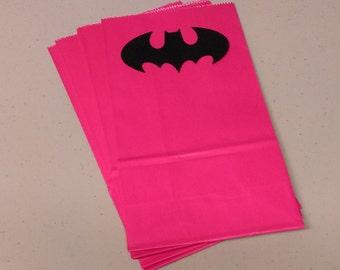 Batman Favor Bags, Pink Batgirl Favor Bags, Batman Treat Bags, Batgirl Treat Bags for Birthday Party, Baby Shower