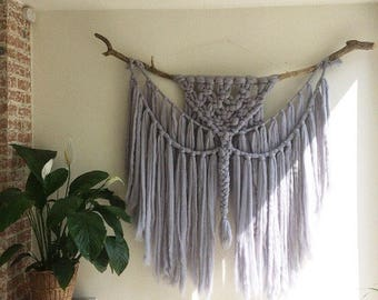 Wall hanging, light grey, woven wall hanging, wool