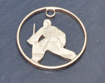Ice hockey goal keeper. Necklace pendant cut coin charm. Circulated Russian coin jewelry