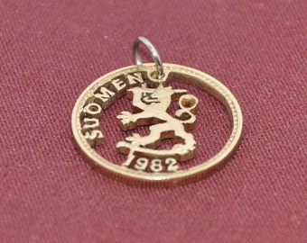 Finnish Suomen lion.  Bronze scripting cut coin pendant necklace charm 1982  All handmade by invicia