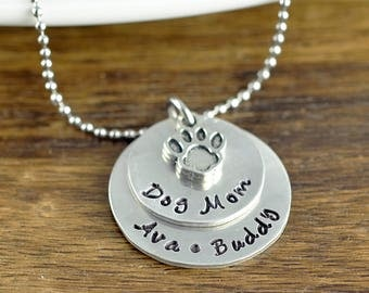Dog Mom Necklace, Dog Name Necklace, Dog Memorial, HandStamped Jewelry, Pet Lover Gifts, Animal Lover Gift, Hand Stamped Necklace, Dog Paw