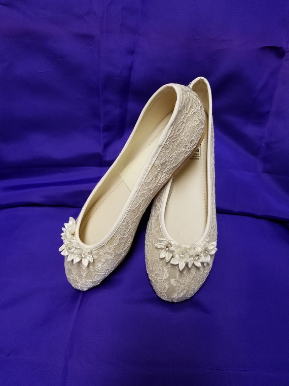 Ready to Ship Size 5 Lace Ivory/Champagne Flats, Vegan Lace Flats flowers crystals adornment,deco, victorian, romantic slippers, comfortable