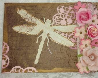 5x7 mixed media canvas -  Dragonfly trellis