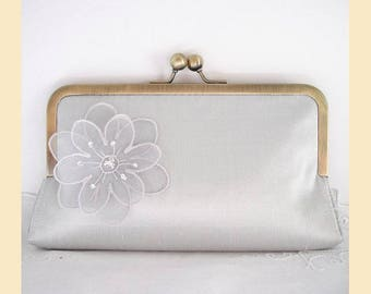 Wedding clutch bag in pale silver silk with floral organza corsage and Swarovski crystals, handmade bridal purse, optional personalisation