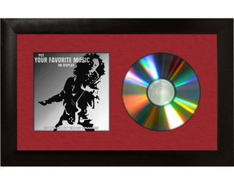 """Red CD Display Mat Complete w/ 1"""" Wide Black Picture Frame (CD1WB3RD)"""