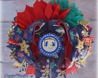 Nativity Hair Bow, Christmas Hair Accessories, Religious Bows, Red Blue Green Over the top Bows