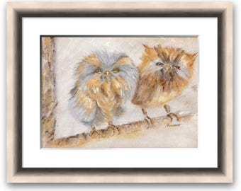 Owl Babies - fine art pastel limited edition print of two owls, animal print, wall art, giclee print 30 x 40 cm framed or mounted only
