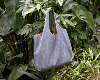 Grey Tote Bag | Giant Grey Tote | Water Resistant Tote | Waxed Canvas