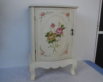 vintage French cabinet,shabby chic,handpainted roses,chippy paint,wooden,small cupboard, oval roses cartouche