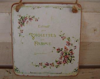 tiny,vintage,extrait violettes de parme advertising image sealed onto wood with string hanger