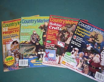 Country Marketplace Magazines...Folkart Treasures...Four Copies...Vintage Craft Magazines..2001 Country Crafts Books...Complete..