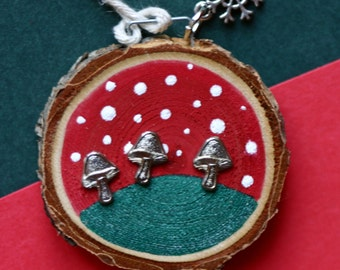 Mushrooms Christmas, holiday, ornament, green and red, snow, small birch wood slice, round, art on wood, polka dots, package tag