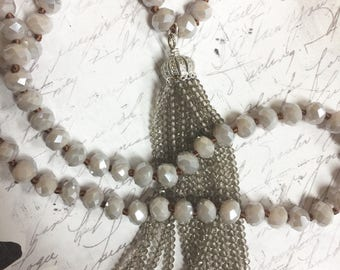 """Gray Taupe tone beaded tassel on hand knotted necklace glass faceted rondelle beads bohemian style necklace 36"""""""