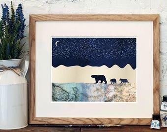 Polar Bears under a Starry Sky, Mixed Media Print, Nursery Print, Wall Print, Penelope and the Ducks