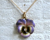 Sweet Vintage 14K Yellow Gold Enamel Pansy with Diamond Necklace.