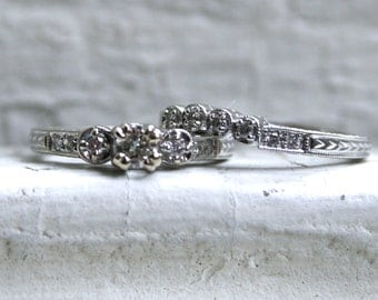 RESERVED - Elegant Vintage 14K White Gold Diamond Two Ring Wedding Set - 0.53ct.