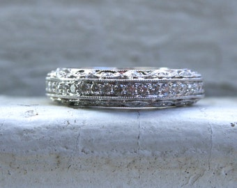RESERVED - Stunning Filigree Vintage 18K White Gold Diamond Wedding Band - 1.16ct.