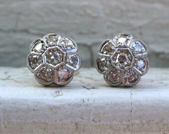 Amazing Vintage 18K White/ Yellow Gold Diamond Cluster Earrings - 0.90ct.