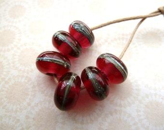handmade lampwork cranberry bead set, UK