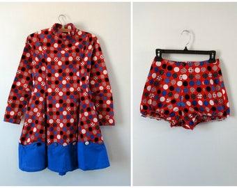 Vintage 1970s majorette dress outfit,  skater dress, novelty dress, xs