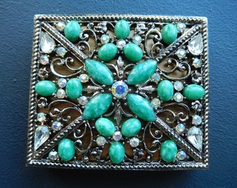 Vintage Compact - Bejeweled Compact - Powder Compact - Rouge Compact - Ladies Vintage Compact - Hollywood Regency