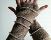 Arm warmers, Eco-Friendly gloves, wrist warmer, upcycled sweaters, patchwork cable knit fingerless gloves, bohemian glove, brown tweed