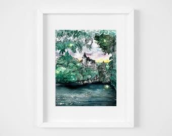 magical castle tucked away in forest watercolor illustration art print| nature, art, fairytale, wanderlust, princess, baby decoration