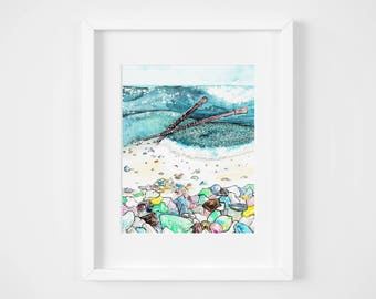 knitted sparkling seaglass beach watercolor illustration art print | gifts for knitters, mermaid, craft, yarn, magic, ocean, decoration