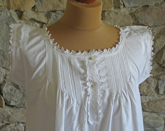 Antique French nightdress with beautiful embroidery pin tucks and AA monogram