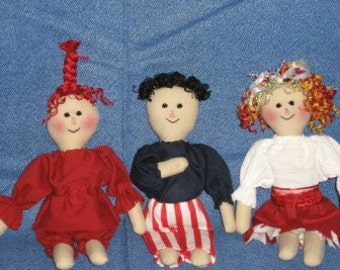 Americana Firecracker Dolls Mailed Paper Pattern by Sew Practical, Mom and Pop Craft